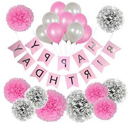 Birthday Decorations for Girls, Pink and Silver Birthday Dec