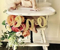 1st Birthday Baby Party Decoration High Chair Glitter Gold O