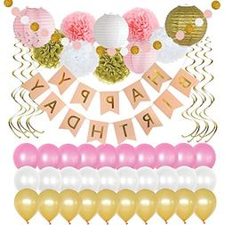 Birthday Party Decorations 49 Piece kit - Gold and Pink Part