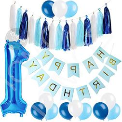 1st Birthday Party Decorations Kit for Baby Boy - Blue, Baby