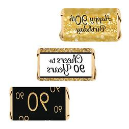 90th Birthday Party Favors Black Gold Decoration Stickers Su