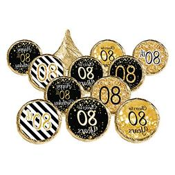 80th Birthday Party Favors Black Gold Decoration Stickers Su