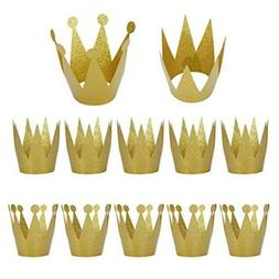 LeeSky Birthday Party Hats,12 Pack Gold Birthday Crown Hats,