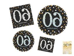 60th Birthday Party Supplies, Sparkling Celebration Design,