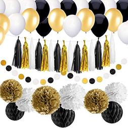 SIMPZIA 86 pcs Black and Gold Party Decorations Kit Birthday