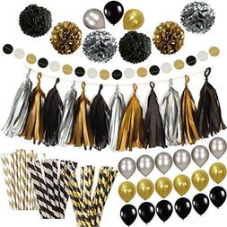 Black Gold Silver Party Decorations - Huge Pack of 115 - Pap