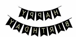 Fecedy Black Happy Birthday Bunting Banner with Shiny Gold L
