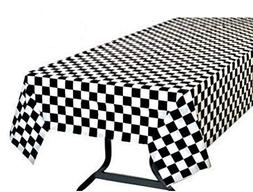 Pack of 6 Black & White Checkered Flag Table Cover Party Fav