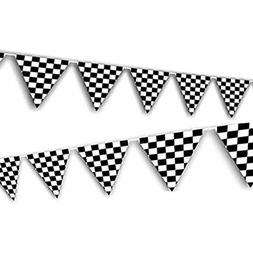 Adorox 100ft Checkered Black and White Flags Racing Kids Par