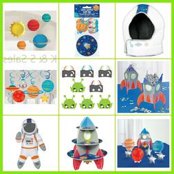BLAST OFF Space Party Decorations Rocket Wall Table Masks As