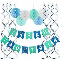 FECEDY Blue Happy Birthday Banner Honeycomb Balls Swirls Str