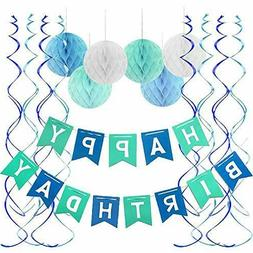 Blue Happy Birthday Banner Honeycomb Balls Swirls Streamers