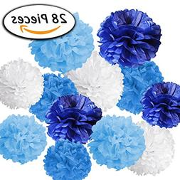 Paxcoo 28 Pcs Boy Baby Shower Blue Tissue Pom Poms Decoratio