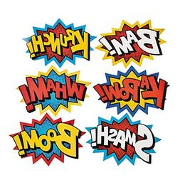 Cardboard Jumbo Superhero Word Cutouts  - 6 pcs by Party Sup