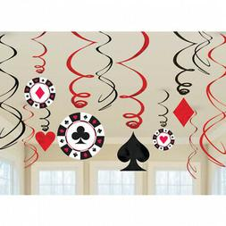 Casino Party/Card Night Hanging Swirl Decorations x 12