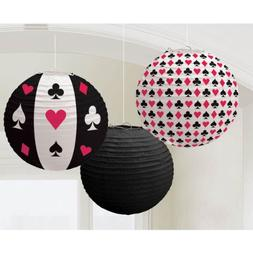 Amscan Casino Printed Lanterns Hanging Party Decoration , Mu