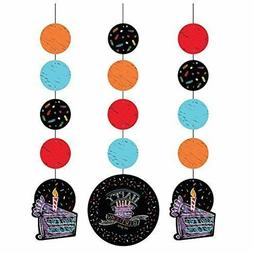 Chalkboard Birthday Dangling Party Decorations Pack of 3