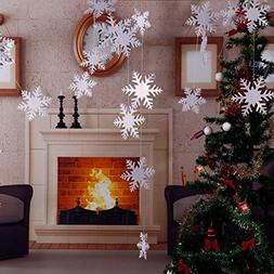 Christmas Party Decorations,24Pcs Holiday 3D White Snowflake