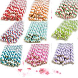 Color Striped Paper Drinking Straws-Rainbow Mixed Party Deco