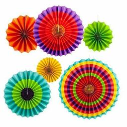 Colorful Fiesta Hanging Paper Fans Party Decorations Party S