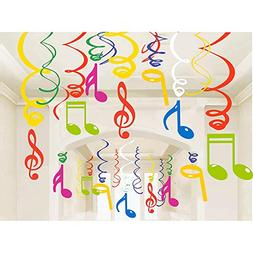 30Ct Colorful Music Sign Hanging Swirl Decorations - Music S