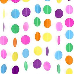 Coceca 66ft 5 Pack Colorful Paper Garland Circle Dots Hangin