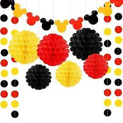 colorful party supplies yellow black red