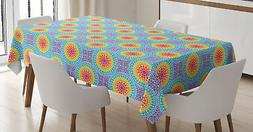 Colorful Shapes Tablecloth Ambesonne 3 Sizes Rectangular Tab