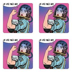 Comics Coaster Set of Four by Ambesonne, Retro 50s 40s Comic