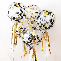 12 Pack 12 inch Confetti Balloon Kit with Metallic Confetti