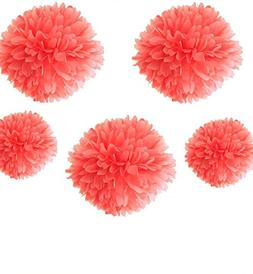 "Fonder Mols Pack of 5 10"" and 14"" CORAL Party Tissue Paper P"