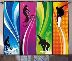 Lunarable Sports Curtains, Extreme Sports Depicting Silhouet