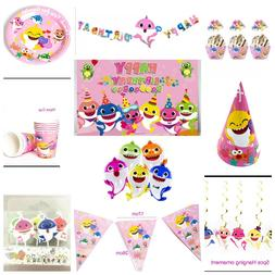 Cute Shark Baby balloons and shark decorations Pink shark ba