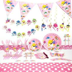 Cute Girl's Party Supplies Pink Baby Shark Theme Kid's Birth