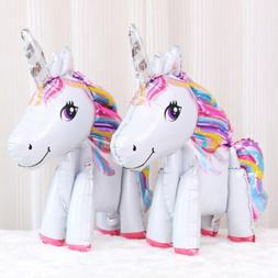 Cute Rainbow Unicorn 3D Foil Balloons Kids Birthday Wedding