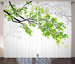 Ambesonne Nature Decor Curtains, Twiggy Spring Tree Branch w
