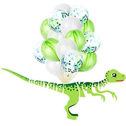 KUDES Dinosaur Happy Birthday Banner and Balloons Party Deco
