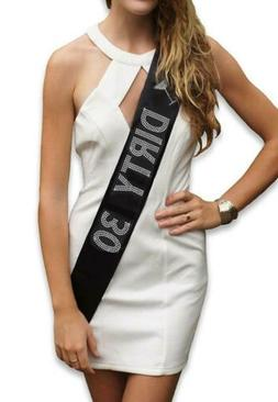 Fecedy Dirty 30 Women's Sash for 30th Birthday Party decorat