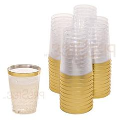 Gold Plastic Clear Cups | 10 oz. 50 Pack | Disposable Party
