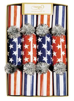 """Entertaining with Caspari 8-10"""" Party Crackers - Red, White"""
