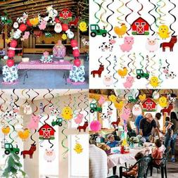 Farm Animal Hanging Swirls Party Ceiling Decorations Barnyar