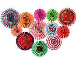 Threemart Fiesta Colorful Paper Fans Lantern for Wedding Bir