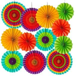 Super Z Outlet Fiesta Colorful Paper Fans Round Wheel Southw