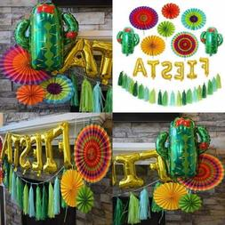 Fiesta Party Decorations Pack - 6 Colorful Paper Fans, Gold