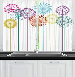 Ambesonne Floral Decor Kitchen Curtains, Flower Decorations