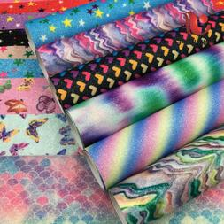 Floral Print Rainbow Glitter Synthetic Leather Fabric Party