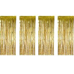 Sumind 4 Pack Foil Curtains Metallic Fringe Curtains Shimmer
