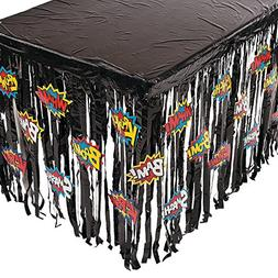 Fun Express Foil Superhero Table Skirt Table Cover With Cuto