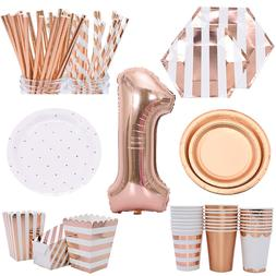 <font><b>Party</b></font> Disposable Tableware Set Rose Gold