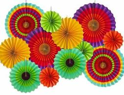 Fourth of July Party Stars & Stripes Hanging Fans + Fiesta P
